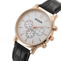 Wholesale pu faux watches - Luxury MiGEER Crocodile Gold Watches Men Top Brand Luxury Faux Leather Mens Analog Watch Wrist Watches Relogio Masculino