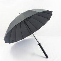 große regenschirme großhandel-Metal Large Windproof Ninja-ähnliches japanisches Schwert Long-handle Rain Sun Straight Umbrella Herren Damen 8/16/24 Ribs Black