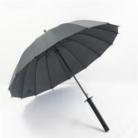 ingrosso ombrellone nero-Spada giapponese grande antivento in stile ninja Manico lungo Pioggia Sole Ombrello dritto Uomo Donna 8/16/24 Costole Nero