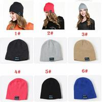 Wholesale warm music hat online - New Men women Beanie Bluetooth hat call music stereo warm cool knit Bluetooth headset fashion cap MMA797