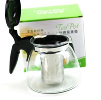 Wholesale kettle teapot set - 900ml Glass Kungfu Tea Set Water Kettle Teapot With Infuser Stainless Steel Filtering Mesh Infuser Tea Coffee Drinkware Tool CCA8463 20pcs