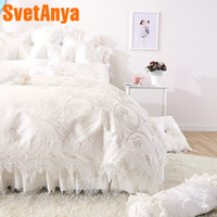 Wholesale king size bedding coverlet online - Svetanya Lace Princess Bedlinen Coverlet Pillowcases Duvet Cover Set Single Queen king size Bedding Sets