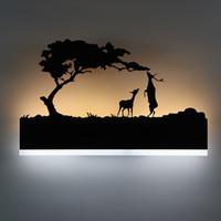 ingrosso materiale decorativo per la stanza-Moderna lampada da parete a LED Camera da letto creativa accanto a lampada in ferro + materiali acrilici Illuminazione di notte Camera di albergo Decorazione applique da parete