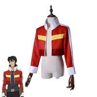 hitman cosplay kostümlerini yeniden doğurdu toptan satış-Voltron: Efsane Defender Keith Ceket Kostüm Kırmızı Kısa Ceket Cosplay Yetişkinler Üst Kıyafet Rol Oynamak
