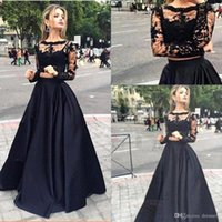 Wholesale navy lace formal top resale online - 2018 Black Two Pieces Dresses Evening Gowns Sheer Long Sleeves Lace Top Satin A Line Floor Length Prom Dresses Formal Party Dresses