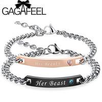 ingrosso braccialetti di modo migliori-GAGAFEEL marca moda personalizzata incisa nome bracciali sua bellezza il suo migliore acciaio inossidabile braccialetti fai da te per gli amanti migliore regalo