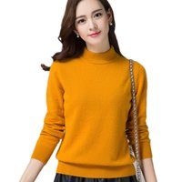 Wholesale Thick Warm Long Sleeve Shirts - New autumn and winter high-necked cashmere sweater women's head Slim solid color wild knit sweater long-sleeved bottoming shirt warm wool