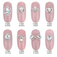 Wholesale Wholesale Rhinestones Supplies - 50pcs Glitter glass gems 3d nail jewelry bows strass Rhinestones nail art decorations DIY top quality alloy nail charms manufacture supplies