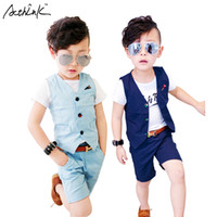 Wholesale wedding suit green boys - ActhInK New Children Formal Vest Suit for Boys Brand England Style Kids Summer Wedding Waistcoat Suits Baby Boys Linen Suit,C056