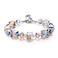 armbänder für beste freunde großhandel-Fashion Square Österreichische Kristall Frauen Armband Luxus Hochzeit Schmuck Charm Armband Damen Bester Freund Hand Schmuck