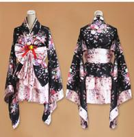 disfraz gótico lolita anime al por mayor-Anime corto cosplay kimono japonés lolita traje rojo mujer niño sexy gótico disfraces de halloween para mujer vestido más el tamaño Y18101601