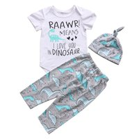 Wholesale Toddlers Animal Hats - Cute Newborn Baby Boy Dinosaur Romper Top Long Pants Leggings Hat Outfit Toddler Boys Clothes Kid Clothing set