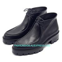 erkekler yumuşak ayakkabılar toptan satış-Güz Kış Çöl Botları Erkekler Yumuşak deri Yüksek top İnek erkek Kısa Çizmeler