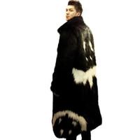 nueva capa de vestido negro al por mayor-2016 nuevos hombres chaqueta de piel sintética de invierno Vestido negro estilo diablo largo cortaviento Fox grueso cálido hombre de moda leahter abrigo de piel