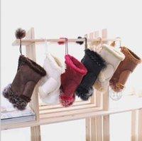 freie mädchen hand handschuhe großhandel-Arbeiten Sie Winter warme fingerlose Handschuhe der ledernen Kaninchenhand des Mädchens warme Winter Winter um Freies Verschiffen