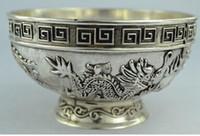 chinesische metallschalen großhandel-Chinesische seltene Collectibles alte Handarbeit Tibet - silbernes Schüsselmetallhandwerk
