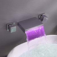 Contemporary Widespread Wall Mount Waterfall 3 Colors LED Bathroom Sink Faucet