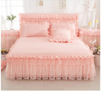 ropa de cama de encaje reina princesa rosa al por mayor-Luxury Lace Princess Bedskirt set Pink Purple juegos de sábanas King / Queen / Full Twin Bedsheets set Fundas de almohada