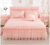 ingrosso doppio letto rosa della principessa-Luxury Lace Princess Bedskirt set Set di biancheria da letto Purple Purple King / Queen / Full Twin size Set di lenzuola Federe Copriletto
