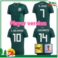 Wholesale Quality Player - Player version 2018 Mexico soccer jersey thai quality 18 G.DOSSANTOS C.VELA Mexico green white shirt CHICHARITO O.PERALTA soccer Jersey
