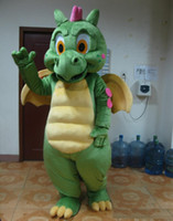 Wholesale mascot costumes for sale - 2018 Factory sale hot the head green dragon mascot costume with wings for adult to weear