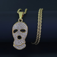 Wholesale Crystal Skull Rhinestone Necklace - New 24inch Stainless Steel chain Hip Hop Skull Skeleton Ghost Pendant Necklace Jewelry N879