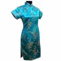 ingrosso più abiti cheongsam di formato-Lago Blu Plus Size 4XL 5XL 6XL femminile cinese abito tradizionale estate delle donne raso Qipao Breve Slim DragonPhenix Cheongsam