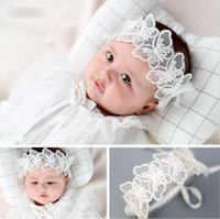 Wholesale white butterfly hair accessories for sale - Group buy Baby lace Bows headbands boutique girls lace gauze butterfly embroidery hairbands infant birthday party princess hair accessories YA0140
