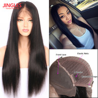 Wholesale long hair wigs smooth - Jingleshair 9A Grade Brazilian Unprocessed Virgin Remy Human Hair Wigs Lace Front Wigs smooth Straight wholesale cheap