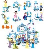 Wholesale block princess resale online - 2018 New Mini Ice Castle Model Mermaid Kristoff Princess Sparking Building Block Construction Toy Figure for girl children