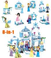 фигурка принцесс оптовых-2018 новый мини ледяной замок модель Русалка Кристофф Принцесса искрение строительный блок строительство игрушка рисунок для девочек