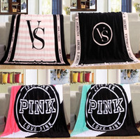 Wholesale Wholesalers Europe - 130*150cm PINK flannel Blanket Letter Carpet Coral Velve Beach Towel Blankets Plush Throw Blankets Lazy Blankets fashion new style FFA192