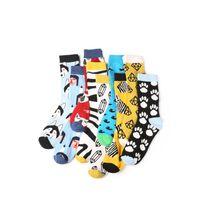 Wholesale zebra sock animal online - 2018 autumn and winter Combed cotton new men s Harajuku style zebra diamond dog fox stripes men and women funny socks
