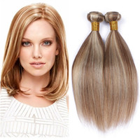 Wholesale piano hair resale online - Malaysian Piano Color Human Hair Extensions Light Brown Highligh Mixed with Blonde Piano Color Human Hair Weave Bundles