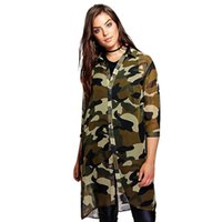Wholesale multi camo shirt for sale - Plus Size Women Chiffon Camo Camouflage Shirt Dress Sleeve