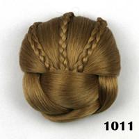 pains chignon achat en gros de-ZF Cheveux Synthétiques Tressé Chignon Haute Température Fiber De Beignet Rouleaux De Cheveux Clip Dans Hair Bun