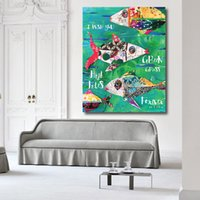 Artwork Painting Pop Art Modern Fish Oil On Canvas Wall Pictures For Living Room Office Motel Home Decor No Framed