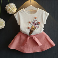 Wholesale ice cream clothes for sale - Group buy Vieeoease Girls Sets Kids Clothing Summer Short Sleeve Ice Cream Top Print Shorts Cotton Skirt Children Outfits EE