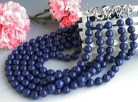 Wholesale lapis lazuli pearl necklace - 5pcs 8mm Natural Blue Lapis lazuli Gemstone Round Beads Necklace 18''