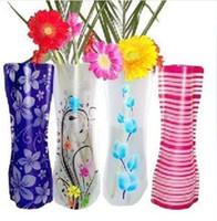 katlanabilir eko poşetler toptan satış-DHL 200 adet Yaratıcı Temizle PVC Plastik Vazolar Çantası Çevre Dostu Katlanabilir Çiçek Vazo Ev Düğün Dekor Yeniden Çiçekler Vazolar