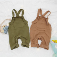 Wholesale Kids Fashion Wear Boys - INS baby Boys suspender pants spring new children out wear casual overalls fashion toddler kids single pocket haroun pants Y4049