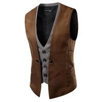 Wholesale xxl tank tops men resale online - Casual Spring Fashion New Basic Casual Suit Vest Men Quality Tank Tops Faux Two Piece Waistcoat FreeDrop Ship Plus Size XXL Cotton
