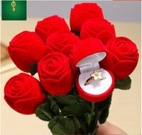Wholesale ring display case sale resale online - Gift Wedding Boxes Rose Shaped Ring Box Mini Cute Red Carrying Cases For Rings Hot Sale Display Box Jewelry Packaging Gift Boxes