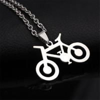 mulheres de jóias de bicicleta venda por atacado-Aço Inoxidável 316L Dainty 1.2 MM Bicicleta Da Bicicleta Colar de Pingente de Mulheres Homens Jóias Nova Chegada de Alta Qualidade