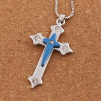 Wholesale prayer bible pendant for sale - Group buy Crucifix Bible Prayer Cross Pendant Men Necklace Chain Blue N1784 inches Hot sell Jewelry Pendant Necklaces