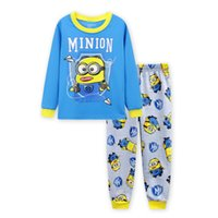 pijamas amarelas venda por atacado-Feliz manga comprida de algodão amarelo crianças roupas infantis pijama primavera sleepwear conjuntos de pijama para 2-7 anos meninos