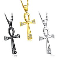 Wholesale boys cross necklace chain for sale - Group buy Silver Gold Black Color Fashion Men s Egyptian Cross Pendant Necklace Stainless Steel Link Chain Necklace Jewelry Gift for Men Boys