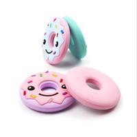 colliers d'infirmières achat en gros de-Donut Cookies biscuit silicone anneau de dentition bébé jouets collier de dentition bébé anneau de dentition pendentif d'allaitement sans BPA 8 couleurs
