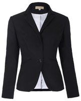 Wholesale Womens Work Suits - Fashion Women Blazer Coat Black Casual Womens Basic Jacket Coats Long Sleeve One Button Suit Ladies Blazers Work Wear Feminino