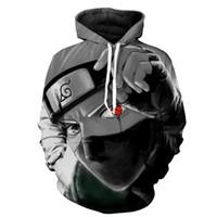 naruto hoodie men toptan satış-Marka Erkek Sonbahar Casual kakashi Hoodie Anime Yangın Gölge Karakter 3D Kazak Hoodie bluz Naruto Kakashi ceket